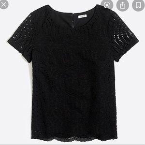 J . Crew black short sleeved lace shirt